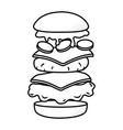 hamburger showing all ingredients black and white vector image