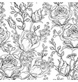 hand-drawn roses black and white seamless pattern vector image