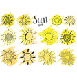 Hand drawn set of different suns sketch isolated vector image vector image