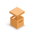 isometric open cardboard box isolated on white vector image