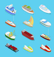 isometric water transport set with cruise vector image vector image