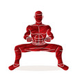 man kung fu action ready to fight graphic vector image