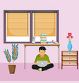 man seated with laptop at home vector image vector image