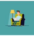 Man sitting in chair with laptop Freelancer work vector image