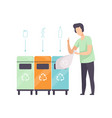 man standing near garbage containers with waste vector image vector image