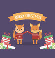 merry christmas celebration squirrel and fox with vector image