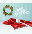 merry christmas lettering wreath scarf tea vector image vector image