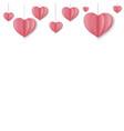 paper hearts border vector image vector image