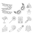 party entertainment outline icons in set vector image vector image
