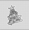pine or fir tree ornate sticker vector image vector image