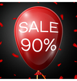 Red Baloon with 90 percent discounts over black vector image