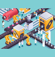 robotic conveyors isometric composition vector image vector image