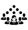 sad staff team black icon vector image vector image