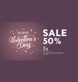 sale of valentines day 50 off creative flyer vector image vector image