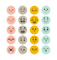 set hand drawn funny smiley faces sketched vector image vector image