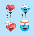 set happy heart and stethoscope to health day vector image