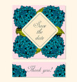 set of cards with hydrangea floral motifs vector image vector image