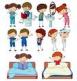 set of doodle kids character routine activities vector image