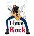 singer with electric guitar vector image vector image