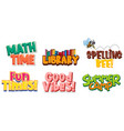 six designs sticker with colorful fonts vector image