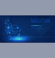 skeleton racer on luge silhouette neon banner vector image