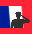 solder silhouette on blur background with france vector image vector image