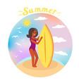 summer surfer girl rides waves ocean vector image vector image