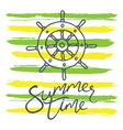 summer time helm and stripes green yellow vector image vector image
