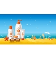 Sun protection cosmetics for family on the beach vector image