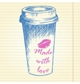 Take away coffee cup on notebook background vector image vector image