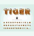 tiger skin cartoon font funny colorful alphabet vector image vector image