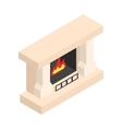 White fireplace isometric 3d icon vector image