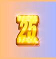 award number 25 banner gold object vector image