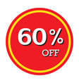 60 off discount price tag isolated vector image vector image