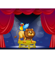 A circus showing the lion and the parrot vector image vector image
