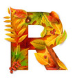 autumn stylized alphabet with foliage letter r vector image vector image