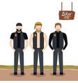 biker culture poster with standing men vector image