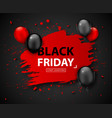 black friday sale balloons and grunge banner vector image vector image