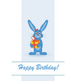 card for your birthday rabbit with gift vector image vector image
