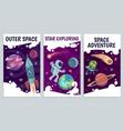 cartoon space flyers astronomy future vector image