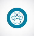 cat footprint icon bold blue circle border vector image