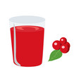 cherry juice with a on the sid vector image vector image