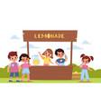 children lemonade happy kids make lemon drink vector image vector image