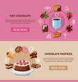 chocolate drink and pastries banners vector image vector image