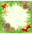 christmas and new year frame with pine cones and vector image vector image
