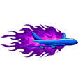 civil aircraft with flames vector image vector image