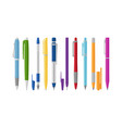 collection different pens flat style vector image