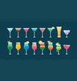colorful different cocktails icon vector image vector image