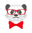 Cute panda portrait with french mustache bow tie vector image vector image