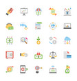 flat icons set market and economics vector image